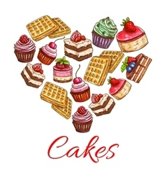 I love cakes pastry desserts in heart shape label vector