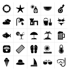 Black beach resort and entertainment icons vector