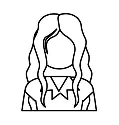 Contour half body long hair woman vector