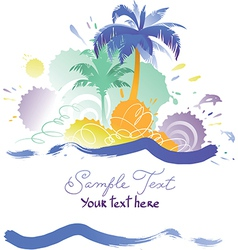 Background with tropical beach vector