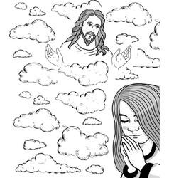 Prayer girl and jesus in the sky vector