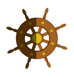 Colorful silhouette of boat helm with half shadow vector