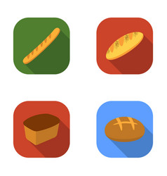 Rye bread french loaf round cut loafbread set vector
