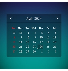 Calendar page for april 2014 vector
