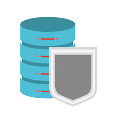 cloud security with shield and server colorful vector image