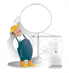 worker with thought bubble vector image