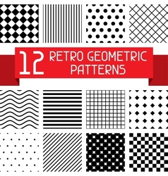 Set of 12 retro geometric patterns vector