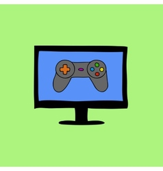 Doodle style computer with gamepad vector