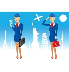 Attractive stewardess holding briefcase vector