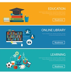 Flat design concept for education online library vector