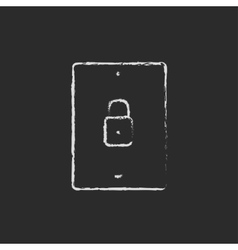 Smartphone security icon drawn in chalk vector image