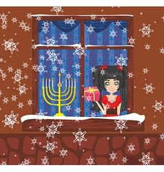 Candlestick in window - hanukkah vector