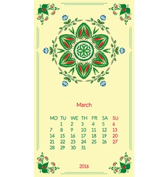 Template calendar 2016 for month march vector