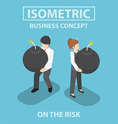 Isometric business people holding heavy bomb vector