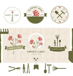 Flowers Logotypes Labels and Badges vector image