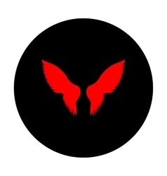 Wings sign red icon vector