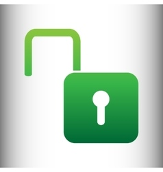 Unlock sign green gradient icon vector