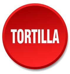 Tortilla red round flat isolated push button vector