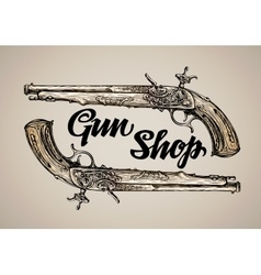 Vintage gun Hand drawn sketch antique vector image
