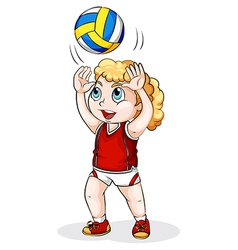 A Caucasian girl playing volleyball vector image vector image