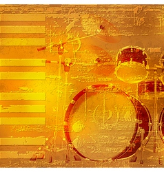 abstract yellow grunge piano background with drum vector image vector image