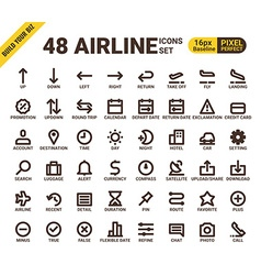 Airline web universal pixel perfect line icons vector