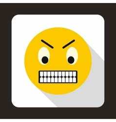 Angry emoticon icon flat style vector image vector image