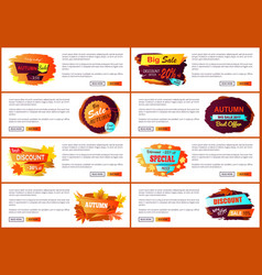 Autumn sale posters set promo advertising labels vector