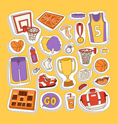 basketball stickers icons vector image vector image