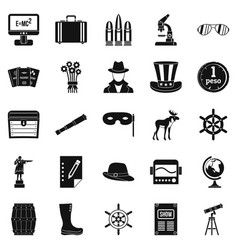 Binoculars icons set simple style vector
