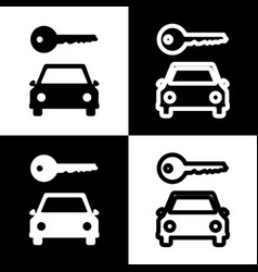 Car key simplistic sign black and white vector