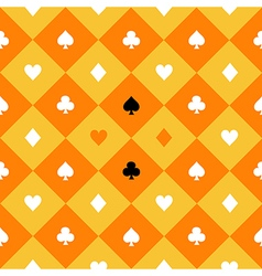 Card suits yellow orange chess board diamond vector