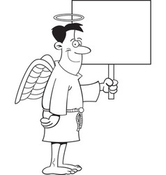 Cartoon male angel holding a sign vector