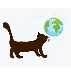 Cat and globe funny vector image vector image