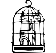Cat in Cage 2 vector image vector image