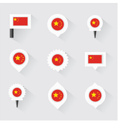 China flag and pins for infographic and map design vector