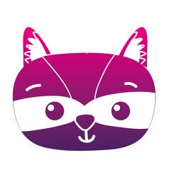 Color silhouette surprised raccoon head wild vector