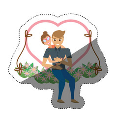 Couple love embracing swing shadow vector