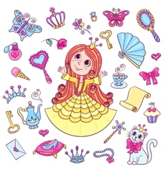 Cute princess set vector