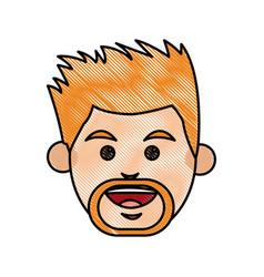 Drawing face man beraded cartoon vector