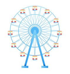 Ferris wheel fun park in white background vector