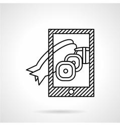 Fish dish photo icon line style vector