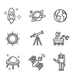 flat astronomy icons vector image vector image