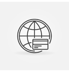 Global payment line icon vector