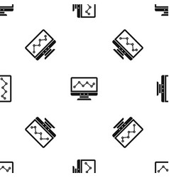 graph in computer screen pattern seamless black vector image vector image