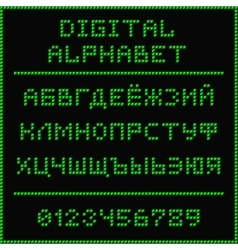 Green digital cyrillic alphabet vector