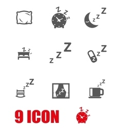 Grey sleep icon set vector