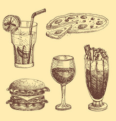 hand drawn food sketch for menu restaurant product vector image vector image