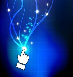Hand push magic button vector