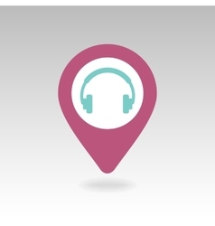 Headphone pin map icon Map pointer markers vector image